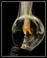 Filament of flames (EddieAC) Tags: light bulb filament flame smoke macro