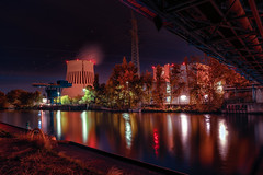 Kraftwerk Reuter #2 (haschkemichael) Tags: night reflection architecture river urbanscene famousplace water illuminated cityscape lake dusk builtstructure city outdoors urbanskyline buildingexterior modern sky tree