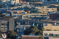 clogged weekend traffic on the central expressway (pbo31) Tags: sanfrancisco california nikon d810 color city urban october 2018 boury pbo31 fall civiccenter over view sunset soma potrerohill roadway highway 101 280 ramp traffic overpass siemer