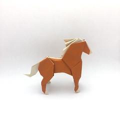 Origami Horse (Orimin) Tags: origami paper papercraft craft art handmade original design animal mammal horse color change brown white short mindaugas cesnavicius