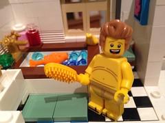 Ice Cream Parlour - bathroom (craigslegostuff) Tags: fun funny lego cmf afol minfig minifigs minifigure collectible man woman toy model figure bathroom bath shower toilet minifig moc