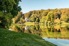 Stourhead autumn colour (Keith in Exeter) Tags: stourhead lake water reflection garden park landscape nationaltrust wiltshire grass tree woodland building pantheon river riverbank lakeside picturesque sky serene