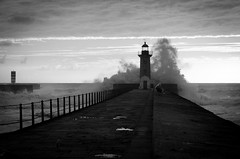 Over the tower (F719D) Tags: sea seaside water waves light lighthouse clouds sky nikkor naturephotography wasser mer ocean atlantic porto oporto portugal foz fozdodouro beach blackandwhite black white bw blancoynegro