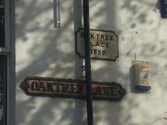Oak Tree Place - Oak Tree Lane, Selly Oak - 1880 sign and road sign (ell brown) Tags: oaktreeplace oaktreelane sellyoak birmingham westmidlands england unitedkingdom greatbritain 11a bus nxwm nationalexpresswestmidlands tree trees shop shops sign signs roadsign