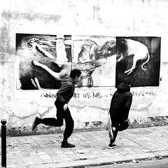 Galloping (pascalcolin1) Tags: paris13 enfants children mur wall galopant galloping photoderue streetview urbanarte noiretblanc blackandwhite photopascalcolin 50mm canon50mm canon