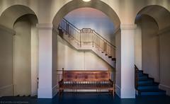 Take a seat (katrin glaesmann) Tags: hannover niedersachsen lowersaxony neuesrathaus newtownhall staircase treppenhaus blue architecture bench