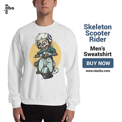 Skeleton Scooter Rider Men's Niazbo Sweatshirt (OopSyDaisyBunny) Tags: sweatshirt apparel clothing shopping winter swag streetwear niazbo scooter skeleton rider shop outfit sweater lifestyle trends toons vector art print shopnow buynow boys forhim teenage