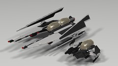 Vader's Sith Interceptor and Tie Alpha (hornjesse896) Tags: legostarwars lddtopovray sith galacticempire imperial tieinterceptor interceptor darth vader minifigures pilots astromechdroid