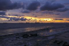 Sunset ((Irfan)) Tags: explore senset outdoor colour cloud water sea ship canon chittagong bangladesh patengabeach nature sunset sky ocean