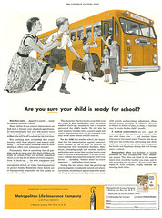 1955 Illustrated Ad, Metropolitan Life Insurance Co, Child Going to School (classic_film) Tags: 1955 1950s fifties ad advert advertising advertisement ads añejo alt american america anuncio anzeige retro revista reklame época ephemeral vintage old magazine printad publicidad publicité usa unitedstates insurance child mother school kid woman mujer hübschefrau hübschesmädchen niñabonita mujerbonita art illustration artwork pretty prettygirl girl nostalgia nostalgic classic clásico commercialism consumerism bus transportation son boy