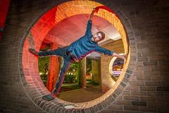 Full Circle 282/365 (stevemolder) Tags: strobist red orange vello tokina gel night oak park chicago 365 self portrait