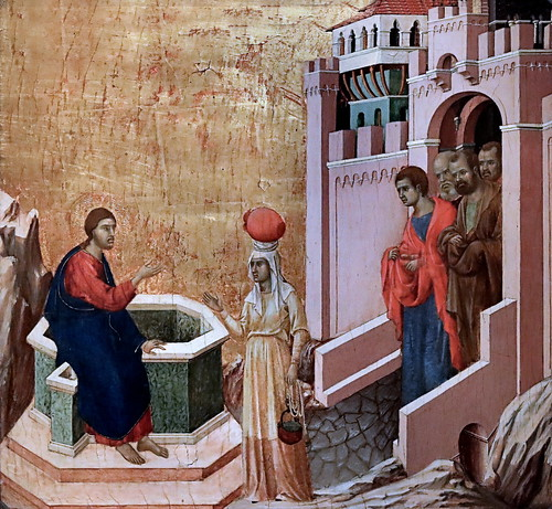 IMG_1113F Duccio di Buoninsegna 1255-1319 Sienne Christ and the Samaritan woman.  Christ et la Samaritaine. 1311 Madrid Musée Thyssen Bornemisza
