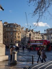 bold advertising (riandar) Tags: redbus bus construction crane londoneye classicbuildings architecture trafalgarsquare london