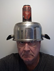 Found an Excellent Way to Rest My Can of Hoss Octoberfest Lager Between Sips (ricko) Tags: beer beercan pot headwear selfportrait hossoctoberfestlager werehere sippingonbeer