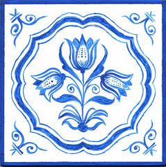 Dutch Tile 810 (newerp) Tags: dutch tile ceramic tulip flower delft blue nederlandse tegel drietulp painting blauw tulp bloen bloemen volkskunst