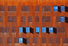 open windows (heinzkren) Tags: architecture architektur window fenster facade fassade rost rust contemporary modern color wien vienna austria wu symmetry abstract university orange blue structures sony shadow texture pattern innamoramento