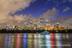 Light reflections of CBD in Sydney Harbour (Gerd Kohlmus) Tags: cbd harbour night reflections skyline sydney