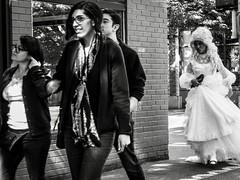 Late (geoffwi100) Tags: late streetphotography blackandwhite capitalhill seattle dragqueen weddingdress