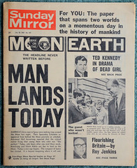 Sunday Mirror 20th July 1969 Moon Landing (davids pix) Tags: sunday mirror 1969 apollo 11 moon landing ted kennedy chappaquiddick mary jo kopechne scandal july 20 20071969 old newspaper front page