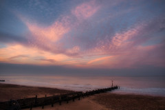 Soft sunset hues (Colin-47) Tags: softsunsethues purple orange yellow coastline evening eveningsky colin47 clouds eastanglia