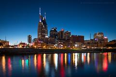 Nashville skyline at twilight (josefrancisco.salgado) Tags: 1635mmf4gvr cumberlandriver d5 nashville nikkor nikon tennessee usa unitedstatesofamerica bluehour crepúsculo downtown evening night paisajeurbano river río skyline twilight us
