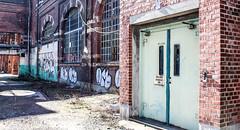 No trucks in the elevator (S. Josuason) Tags: sweden sverige abandoned factory malmö elevator graffiti