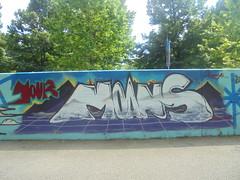 your moans always (en-ri) Tags: moans 2018 bianco viola torino wall muro graffiti writing azzurro parco dora