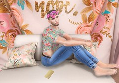 Better Not (EnviouSLAY) Tags: pastel floral cropped shirt noche equals10 equals 10 newrelease new release flowercrown flower crown gold riot denim jeans stealthic monthlyevent monthlyfair monthlyfashion monthly fair event fashion pale male gay blogger secondlife second life photography