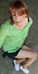 Going Green (Sometimes Emma) Tags: tgirl transvestite tranny wig makeup jacket blouse skirt tights converse feminine fun happy