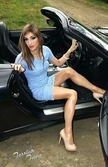 Sky Blue Lace (jessicajane9) Tags: tg crossdresser transvestite crossdressing trans feminization transgender cd xdress tranny crossdress tgurl feminised travesti pantyhose tights m2f tv tgirl lace dress heels legs car