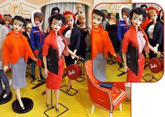 A NICE SURPRISE (ModBarbieLover) Tags: busy gal sweater girl vintage barbie fashion doll 1960 tm 1959 3 brunette 4 mattel shop boutique hat twinset pearls 50s