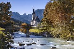 Ramsau bei Berchtesgaden (Thijs de Bruin) Tags: church water longexposure bridge ngc germany deutschland autumn herfst