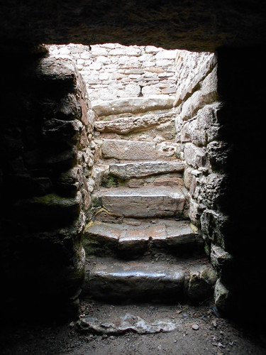 Hen Capel Lligwy, Anglesey. Steps in crypt.