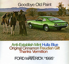 1970 Ford Maverick (coconv) Tags: car cars vintage auto automobile vehicles vehicle autos photo photos photograph photographs automobiles antique picture pictures image images collectible old collectors classic ads ad advertisement postcard post card postcards advertising cards magazine flyer prestige brochure dealer 1970 ford maverick green aintestablish mint 2 door sedan coupe 70