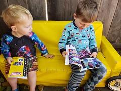 Reading together (quinn.anya) Tags: sam paul toddler kindergartener comicbook reading brothers