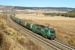 Tramesa Bilbao Mercancías-Aranda de Duero con la 601.009 a su paso por Santa María del Invierno. (ordunte) Tags: comsa comsarailtransport tramesa bitrac cafbitrac caf castillayleón burgos santamaríadelinvierno bobinero steelfreight mercante mercancías freight 601009
