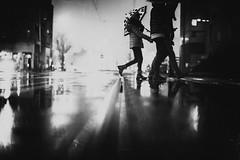 Come undone (ewitsoe) Tags: nikon street urban cityscape blackandwhite rain raining winter refelction umbrella weather monochrome mono bnw poznan poland atmsophere glare child parent crossingthestreet holdinghands polska