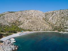 Luftbild Nikolaos Strand Hydra in Griechenland