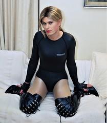 Neoprene Body (Miss Nina Jay) Tags: neoprene trannie tights boots