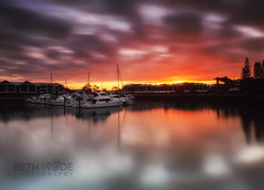 Golden Glow (Beth Wode Photography) Tags: sunrise dawn morning cleveland rabybay harbour harbor marina rabybayharbour boats yachts goldensky goldenglow reflections sunriseclouds beth wode bethwode