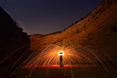 The ring of fire (FX-1988) Tags: wool steel fire sparklers night quarry israel haifa nesher נשר חיפה ישראל dramatic self rock landscape stars sky pit hole steelwool long exposure longexposure circel round light stone abandoned