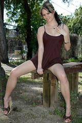 Hope the neighbors don't mind! (CobaPix) Tags: outdoors public model modeling legs sexy girl woman collegegirl shortdress bella beautiful hot babe cute upskirt