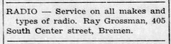 1945 - Ray Grossman radio repair at 405 S Center - Enquirer - 1 Nov 1945