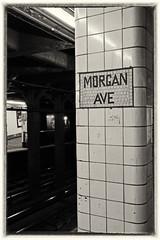 Morgan Ave. Subway Station (soboy5) Tags: nyc newyorkcity newyork mono monochrome bw blackandwhite brooklyn subway sign tile tracks subwaystation trainstation traintracks subwaytile transitstation fuji fujifilm xt1 graffiti bushwick architecture