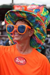 colorful character (lucymagoo_images) Tags: new louisiana nola canon eos rebel sl1 portrait kreweofboo halloween parade costume makeup people man glasses hat vivid orange multicolored