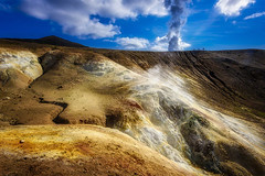 Dancing on the Rim (stevegilliesphotography) Tags: iceland skútustaðahreppur crater earth fissure geology nature steam sulpher travel vent volcanic volcano
