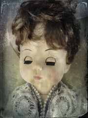 Calling Hours (drei88) Tags: undertaker mortician funeral shroud doll vintage distress weird eerie creepy reaching searching fleeting memories darkness light shadow texture lace lost sad forlorn alone bleached vanishing fade dreary bleak drab