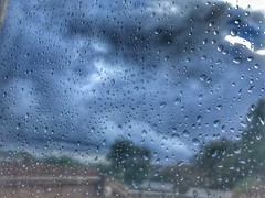 Raindrops (andystones64) Tags: raindrops glass window rain clouds fence trees indoors weather weatherwatch naturephotography nature