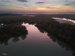 sunset on the Po river (simotony) Tags: sunset autumn sky blue yellow tree river landscape longexposure drone airphotography bird