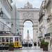 Lisbon Tram in Front of Arco da Rua Augusta